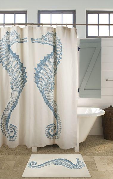 Seahorse shower curtain bath matt - Thomas Paul