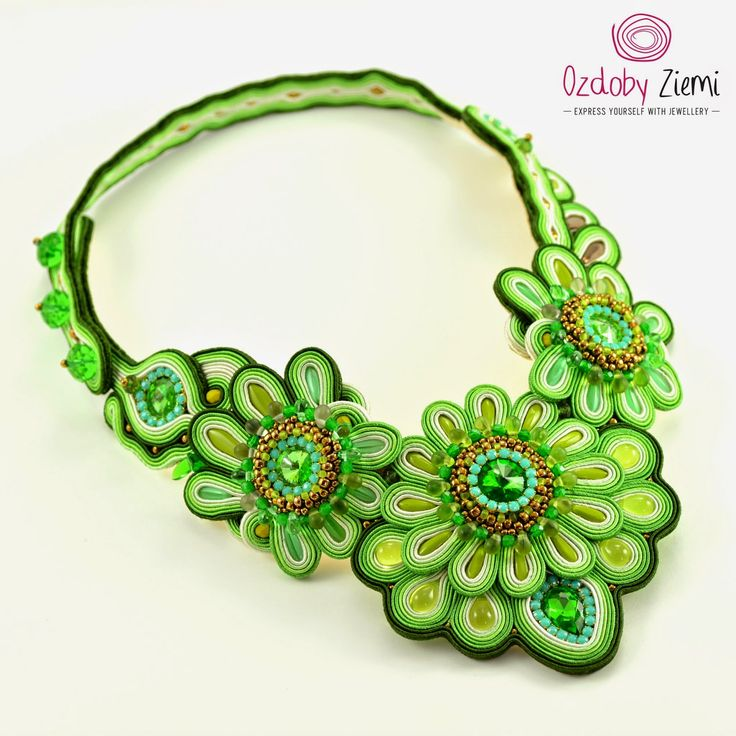 Ozdoby Ziemi: Naszyjnik w kolorze Kiwi czyli Lebih Selesa Soutache #soutache #soutachenecklace #soutachebijou #soutachejewelry #handmadejewelry #handembroidery #OzdobyZiemi