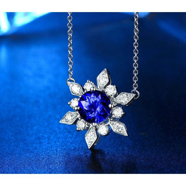 Snowflake 18k White Gold Blue Tanzanite Diamond Pendant Necklace... (870 AUD) ❤ liked on Polyvore featuring jewelry, necklaces, tanzanite necklace, snowflake necklace, pendant necklace, valentines day necklace and diamond necklace