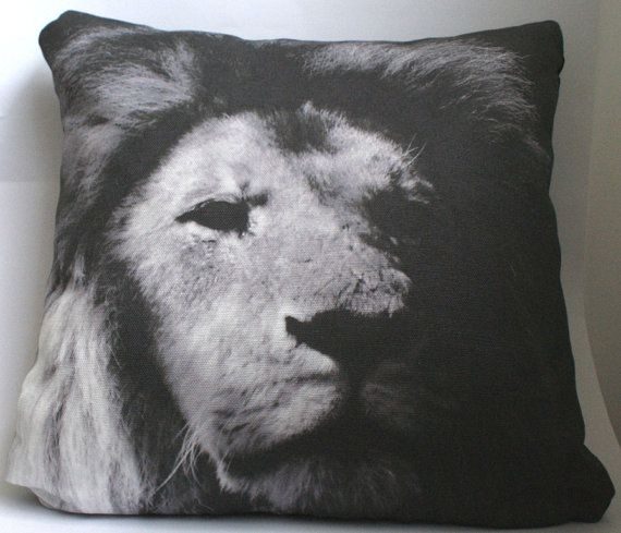 King of the Jungle - a close up photography of a lion edited into an artistic black and white image. Printed onto luxurious belgian linen cotton to create a statement cushion for your home. http://missbilly.bigcartel.com/