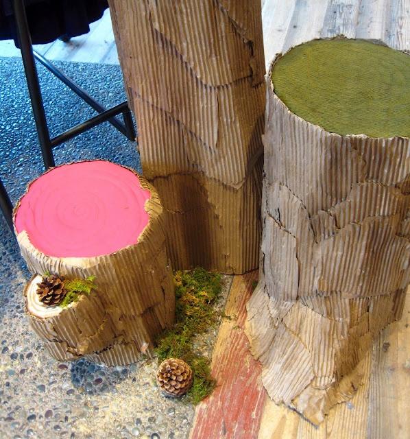 Cardboard tree trunk examples