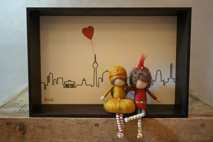 Needle felted figurines, fairies, in 3D frame - BERLIN LOVERS