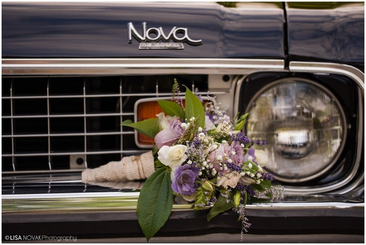 Gorgeous bouquet in white, purple and green  Lavender, heather, freesia, baby's breath on a Vintage Chevy Nova - Lisa Novak Photography