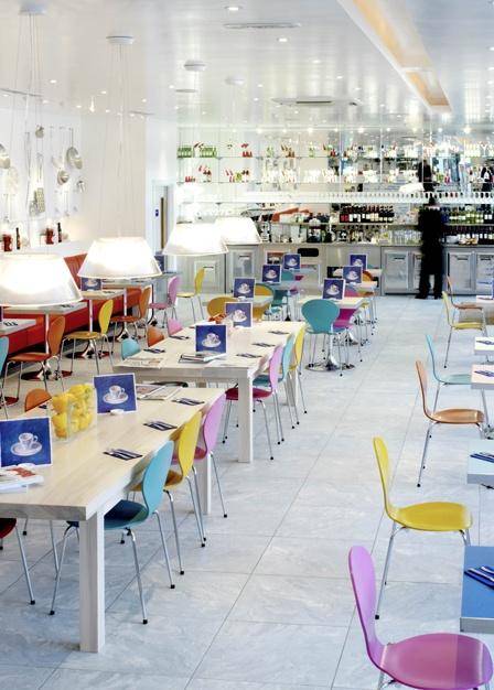 Carluccio's Brighton, colourful chairs and a nice bright cheery restaurant
