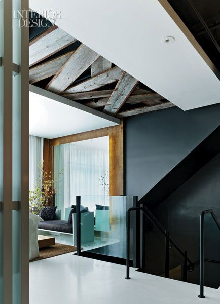 love the reclaimed wood inset into the ceiling, and the layering of tones and finishes