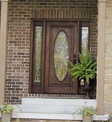 Therma tru classic craft oak collection fiberglass door with arcadia mahogany front door with full oval glass planetlyrics Choice Image