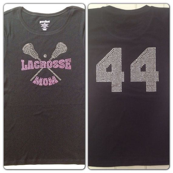 Lacrosse Mom Rhinestone Bling Tee Shirt With Custom By