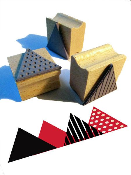 3 rubber stamps - TRIANGLE