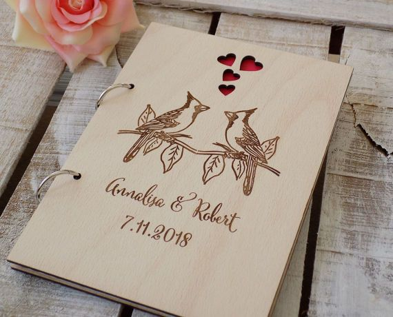 Birds Guest Book Rustic Wedding GuestBook Custom Wedding