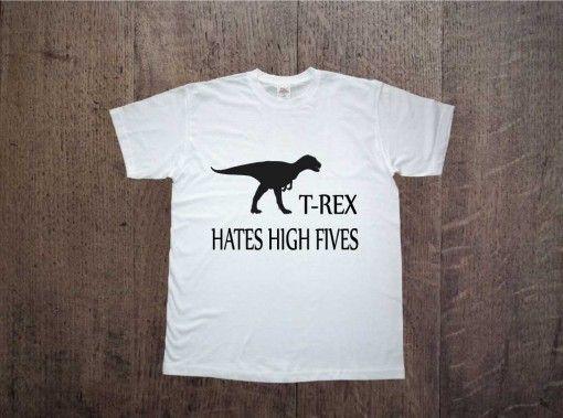 t-rex hates high fives Zapraszamy na www.ddshirt.pl men t-shirt koszulka męska moda odzież fashion