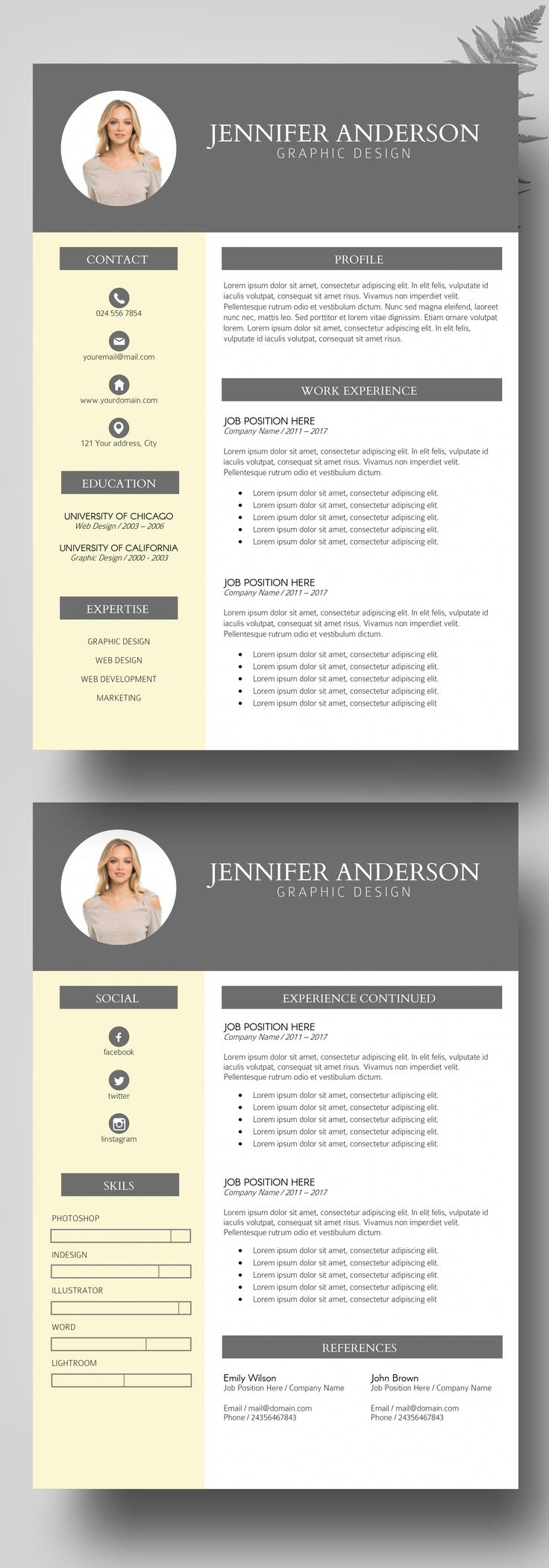 photo resume instant download  resume bundles  modern  u0026 professional resume template  creative