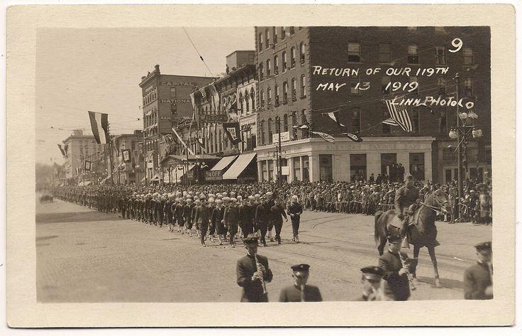 https://flic.kr/p/f4kiS1 | Washington Street, Lansing, Michigan -- parade for return of troops, May 13, 1919.