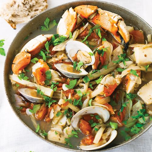 This medley of clams, crab, cod and scallops is slow simmered in a spicy broth and white wine sauce. Try pairing this stew with whole-grain crusty bread.