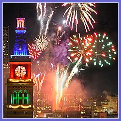 Fireworks in Downtown Denver Colorado New Years Eve Celebration.