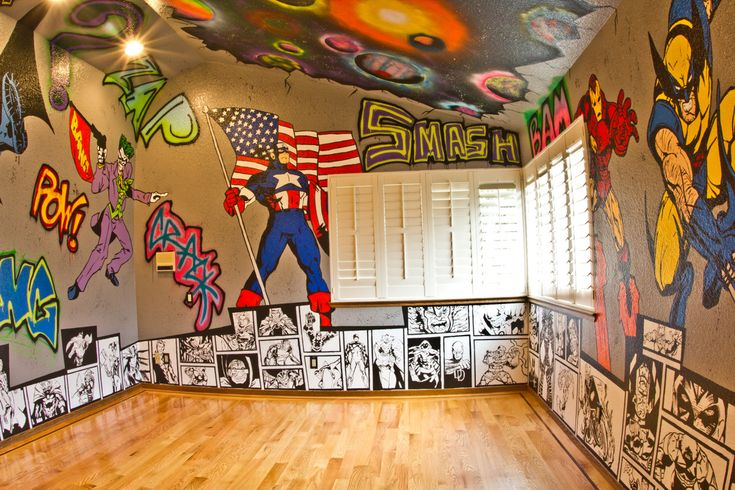 superhero room graffiti walls with marvel and dc