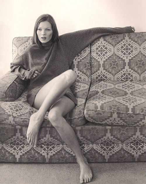 Kate moss on the couch. Tell us your secrets.