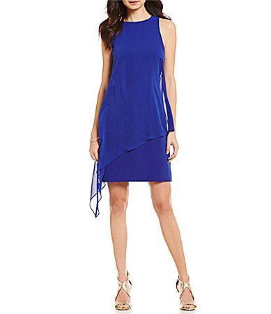 Tahari ASL Jewel Neck Sleeveless Chiffon Overlay Crepe Sheath Dress #Dillards