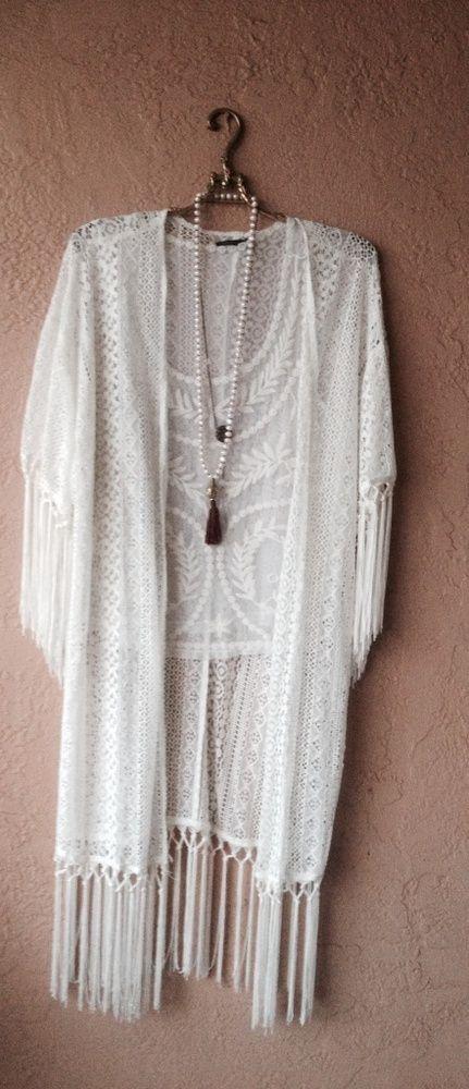 Free People gypsy fringe kimono for resort over bikini