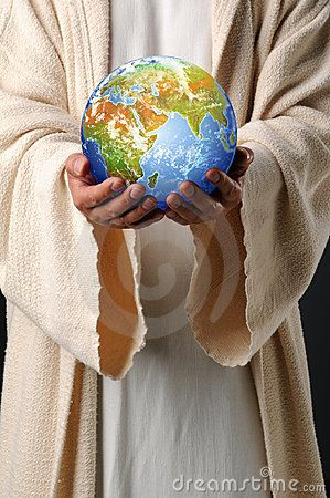 Jesus Hands Holding Earth