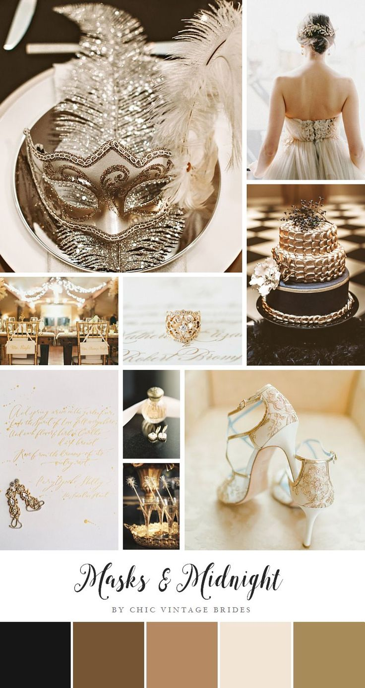 Masks and Midnight – Glamorous New Year's Eve Wedding Inspiration in Black and Gold
