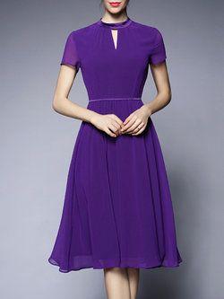 Short Sleeve Casual A-line Midi Dress