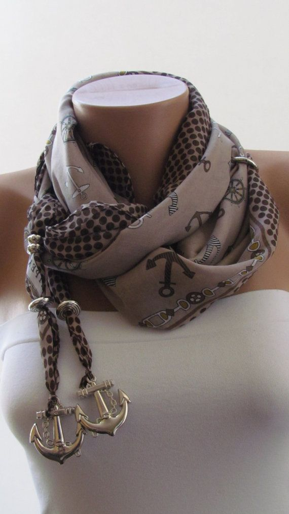 SPRING SCARF Anchor Scarf Headband Necklace For by scarfstore2012, $15.00