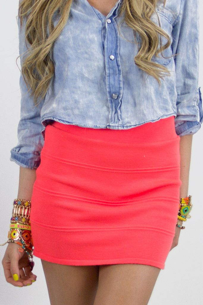 Denim and Coral: Outfits, Fashion, Jeans Shirts, Style, Denim Shirts, Pencil Skirts, Bright Skirts, Denim Shorts, Bright Colors
