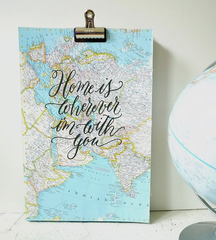 Home is Wherever I'm With You Calligraphy Map Art Print | Wherever you call home, it can be more lyrical and romantic wi... | Posters