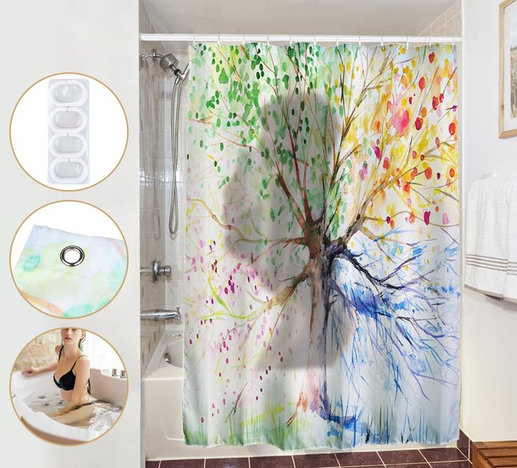 180x200cm Shower Curtain, 100% Polyester Fabric, Digital Printing Water-ink Colorful Tree, Bathroom Decor Collection with 12pcs Plastic Hooks (multicoloured)