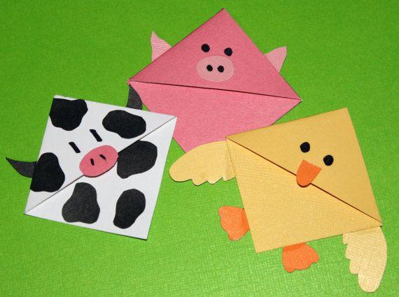Barnyard Buddies Set of 3 Corner Bookmarks by CannolisCorner