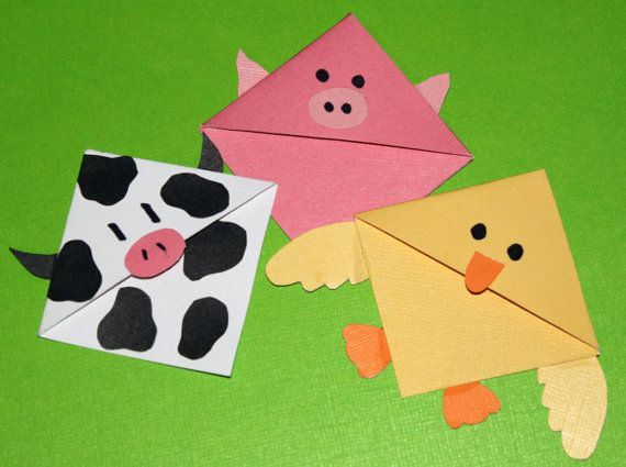 Barnyard Buddies Set of 3 Corner Bookmarks by CannolisCorner