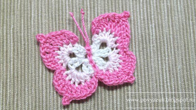 Блог Лилии Первушиной: [Вязание крючком] Вязаная крючком аппликация бабочка.