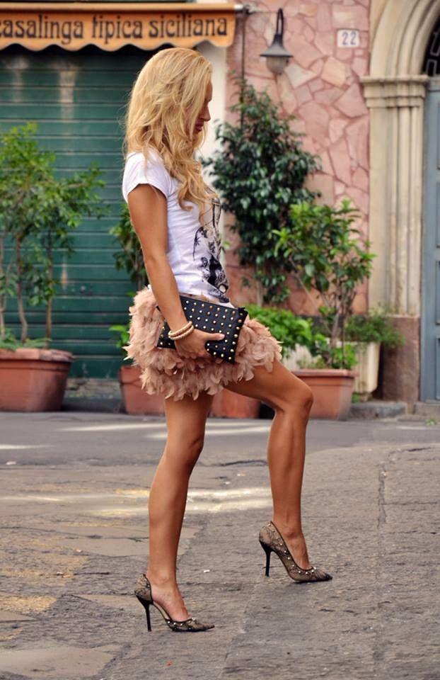 Falda de plumas / nude / feather's skirt
