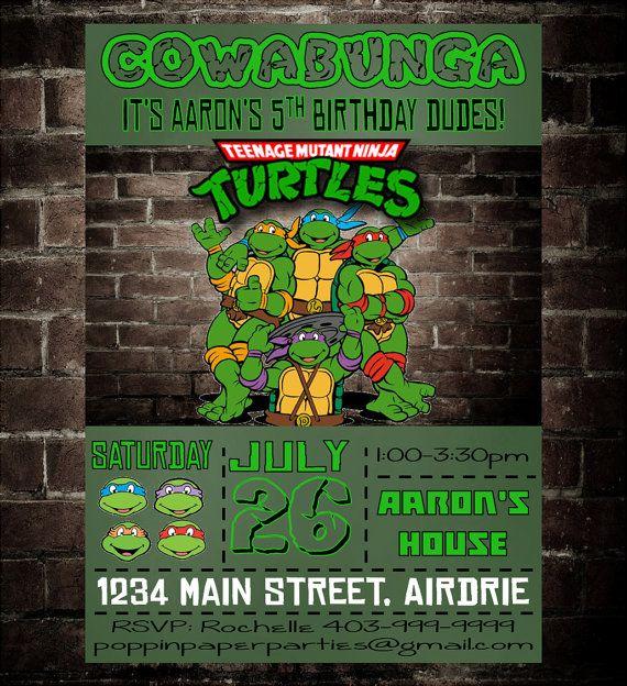 TMNT Ninja Turtles Invitation Ninja Turtles by PoppinPaperParties, $7.00
