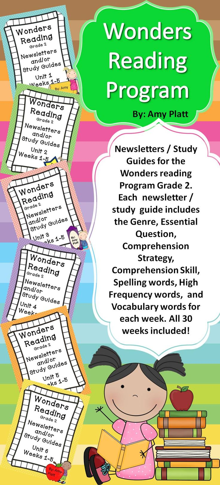 These are Newsletters / Study Guides that supplement the McGraw Hill Wonders Reading Program Grade 2.  All 30 Weeks included!