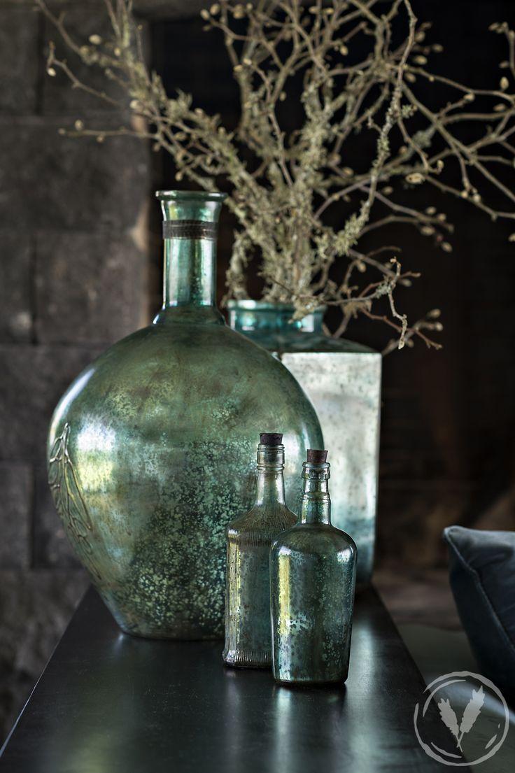 Iris Wide Teal Blue Glass Bottle, Iris Round Jar Teal Blue, Iris Small Round Teal Blue Bottle. http://www.frenchcountry.co.nz/