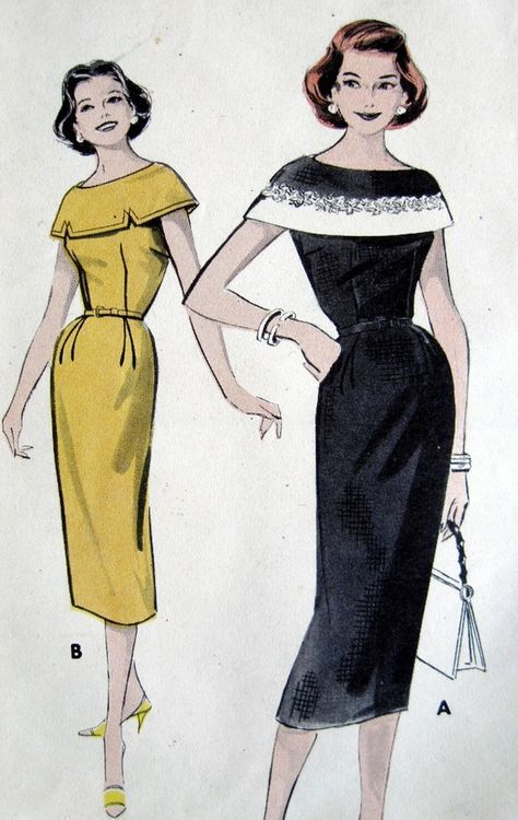 1950s butterick patterns | Vintage Sewing Pattern 1950s Butterick 8457 Sheath Dress with Capelet ...