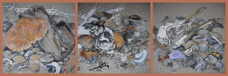 https://flic.kr/p/dUq4hk | coquillages et crustacés..... | petits tableaux de 25cmX25cm...... série pour boutique.... à voir sur fond noir