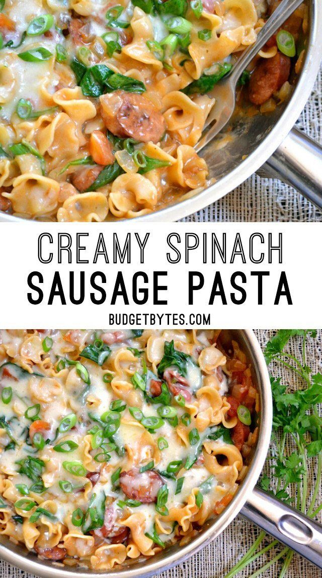 Creamy Spinach and Sausage Pasta is an easy one pot meal for quick weeknight dinners. BudgetBytes.com