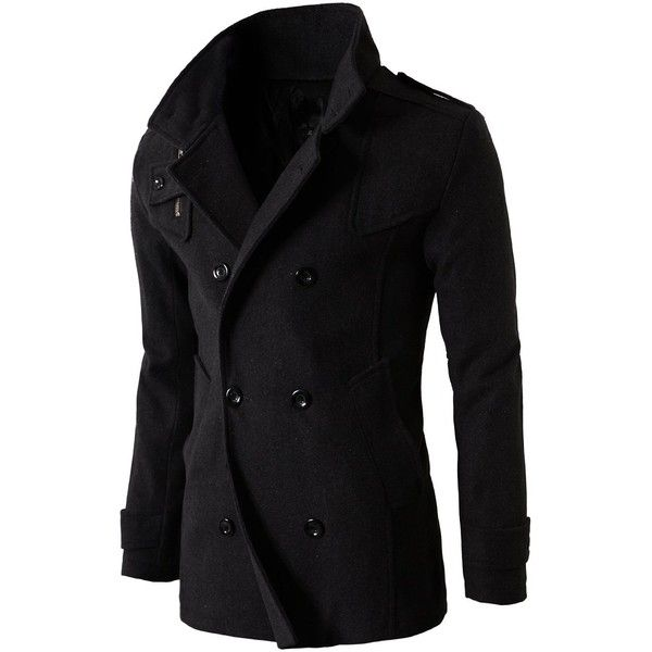 H2H Mens Casual Regular Fit Wool Half Coat with Quilted Lining at... ($36) ❤ liked on Polyvore featuring men's fashion, men's clothing, men's outerwear, men's coats, mens wool coat, mens wool outerwear and mens coats