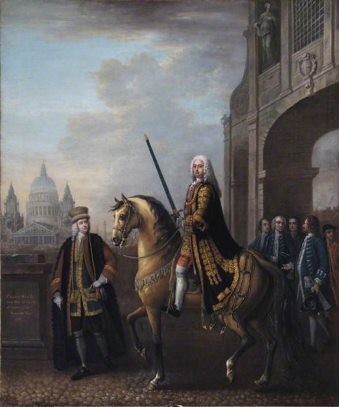 Equestrian Portrait of Sir Richard Hoare II (1709–1754), as Lord Mayor of London, at Temple Bar  by John Wootton