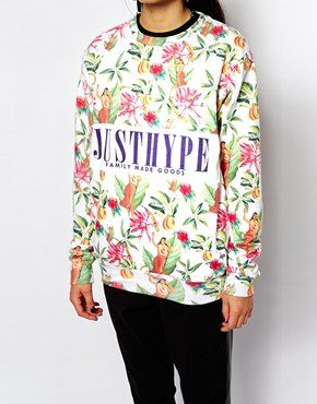 Enlarge Hype Sweatshirt With Hula Hawaiian Floral Logo Print
