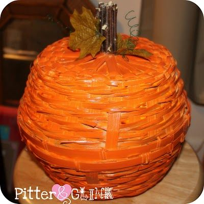 PitterAndGlink: Dollar Store Basket Pumpkin Light
