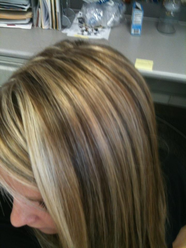 Dimensional highlights: white blonde, copper, and warm brown