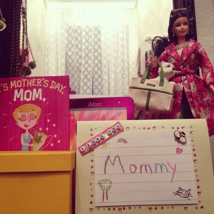 Vanity mainstays: Mommy Cards and Kate Spade Barbie