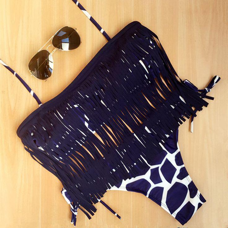 2016新しい到着女性タッセルセクシーな印刷縞模様のプッシュアップパッチワークフリンジビキニセットレトロ水着水着サイズs、m、l