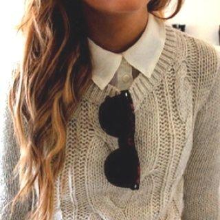 button down, sweater, shades, hair.