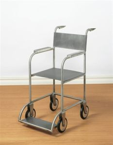 Untitled (Wheelchair) by Mona Hatoum - note the sharp kitchen knives as handles...
