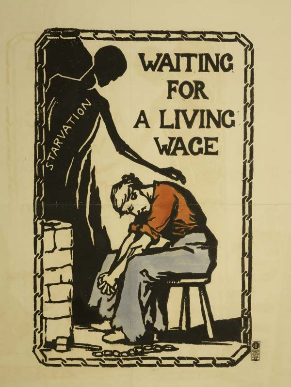 Pro suffrage  poster designed by Catherine Courtauld and printed by Suffrage Atelier