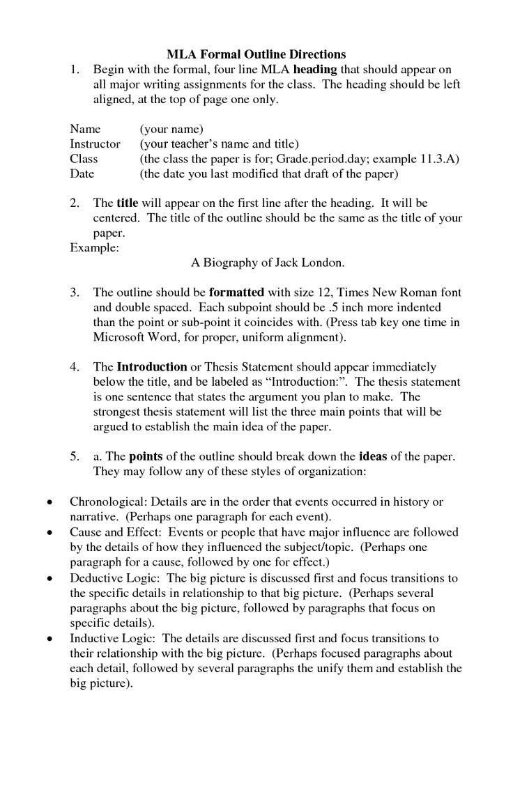 Mla Format Formal Outline Essay Outline